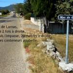 Le carrefour du Mas de Gras pour arriver au gite d egroupe.