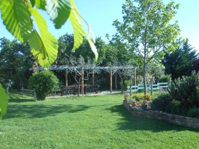 Quelques fleurs face à la pergola du gîte de groupe de 5 chambres en Ardèche