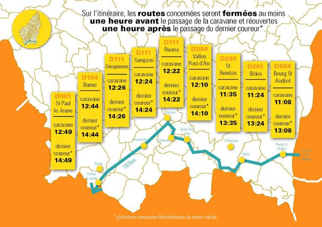 Etape du Tour de France 2018 dans les Gorges de l'Ardèche - Location gîte de groupe.